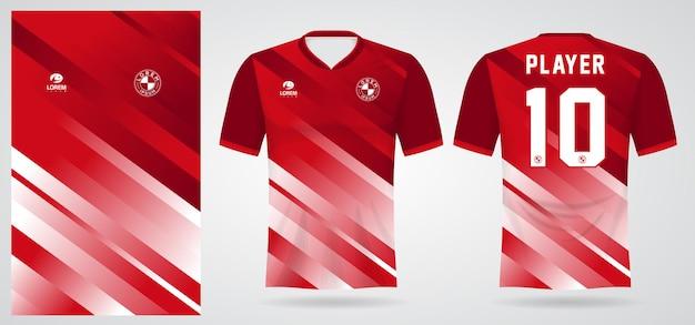 Красно-белый спортивный шаблон для спортивной формы и дизайна футболки
