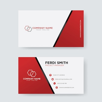 Red white square business card