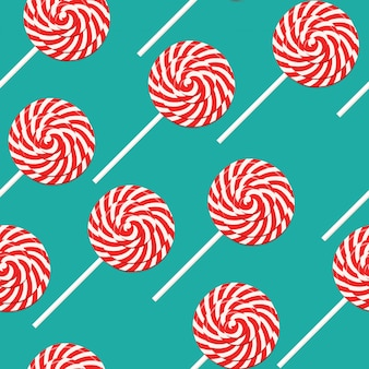 Red and white swirl lollipop seamless pattern