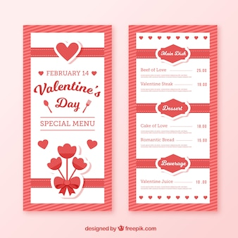 Red and white valentine menu template