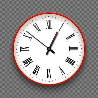 Red and white wall office clock icon with roman numbers. design template vector closeup. mock-up for branding and advertise isolated on transparent background. realistic round clock-face dial.