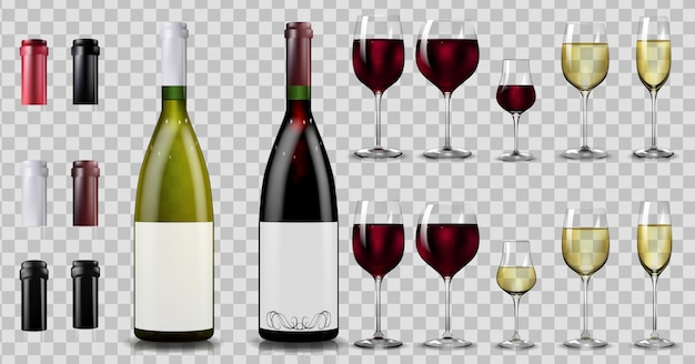 Red and white wine bottles and glasses. realistic