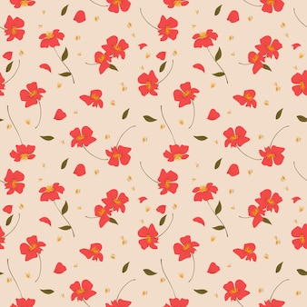 Red wild flower seamless pattern.