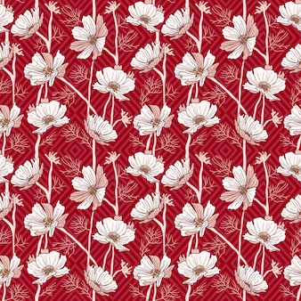 Red wild flower single color pattern