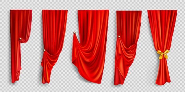 透明な背景に赤い窓のカーテン