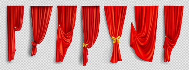 Red window curtains on transparent background