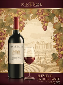 Red wine ads, fleshy and fruity wine in  illustration isolated on engraving vineyard background