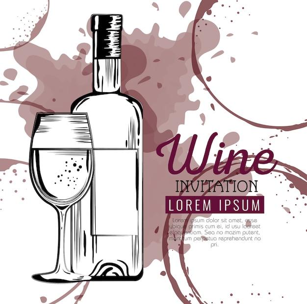 Бутылка красного вина и этикетка с чашкой