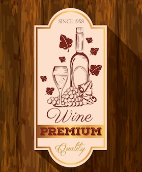 Red wine bottle and cup label