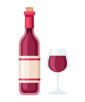 Red wine bottle and glass cup. bottle with label.   illustration  on white background