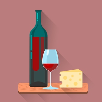Red Wine Bottle Glasses Cheese Set