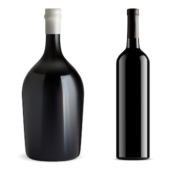 Red wine bottle isolated glass vector blank champagne or chardonnay wine mockup. cabernet, merlot, bordeaux beverage