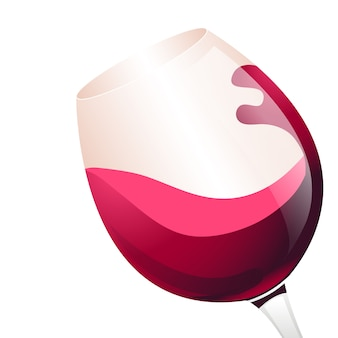 Red wine in glass illustration. flat design.