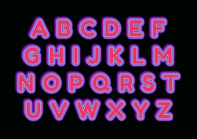 레드 와인 글로우 알파벳 세트