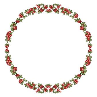 赤い冬の果実のカラフルな花輪