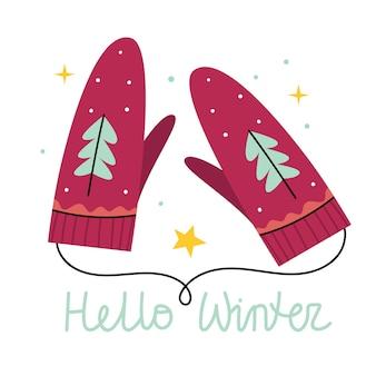 Красные зимние перчатки. рукавицы. снег падает на елку. иллюстрация к детской книге. милый плакат. простая иллюстрация.
