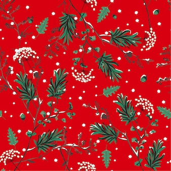 Red winter snow in the garden flower seamless pattern