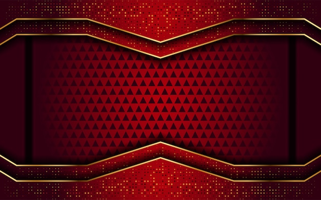Red with golden line abstract modern background