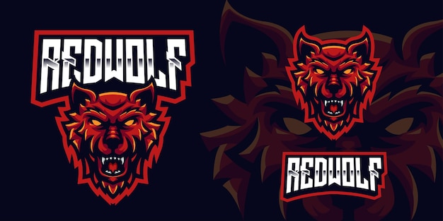 Red wolf gaming mascot logo for esports streamer and community