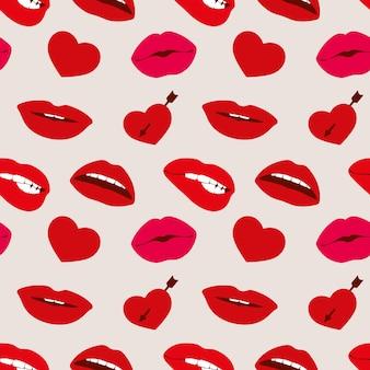 Красный губы женщины и сердца вектор бесшовные шаблон