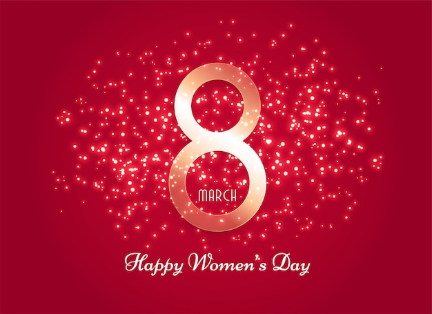 Red women's day background with sparkle effect