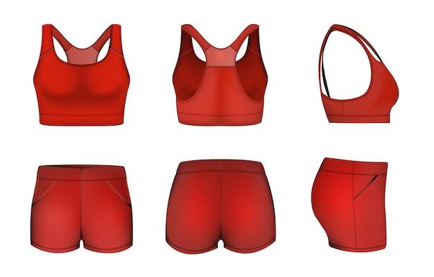 Красный женский спортивный бюстгальтер с укороченными шортами, макет, векторная иллюстрация, спортивная одежда, мода, тренировочный сгусток ...