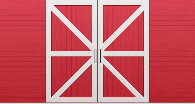 Red wooden barn door front side background horizontal illustration