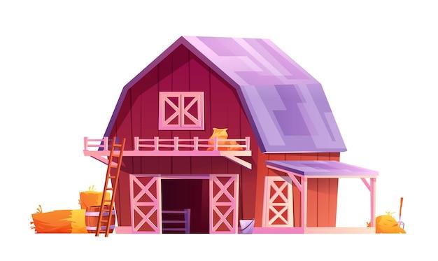 Красный деревянный сарай с треугольными серыми мансардными окнами и открытыми дверями с белыми досками, изолированные в сельской местности