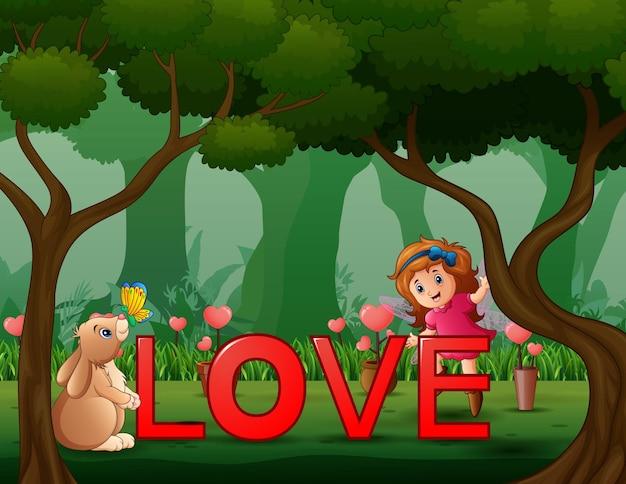 うさぎと天使の女の子との赤い言葉「愛」
