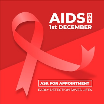 Red world aids day illustrated ribbon