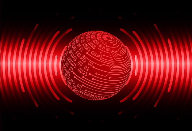 Red world cyber circuit future technology  background