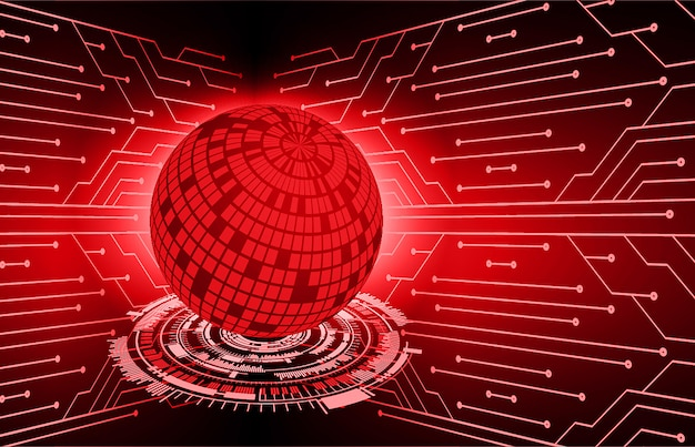 Red world cyber circuit future technology concept background