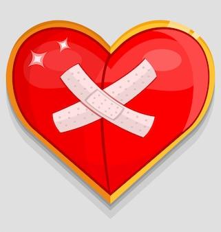 Красное раненое сердце с лейкопластырем
