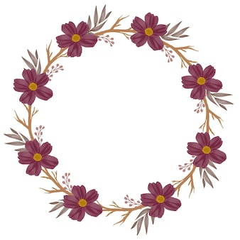 Red wreath circle frame with red flower and brown branch for wedding invitation