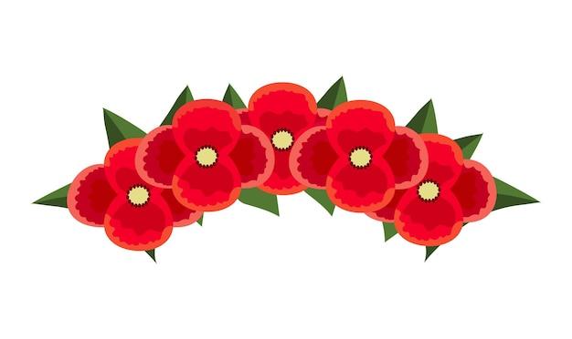 평평한 스타일의 머리에 양귀비 꽃의 붉은 화환. 여성의 헤어스타일을 장식하고 콜라주하기 위한 밝고 아름다운 꽃 왕관.