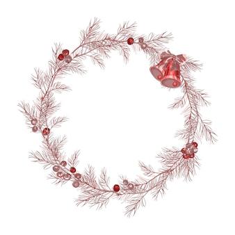 クリスマスツリーの枝、ベリー、鐘と赤い花輪。