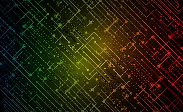 赤黄色青いサイバー回路将来の技術コンセプトの背景