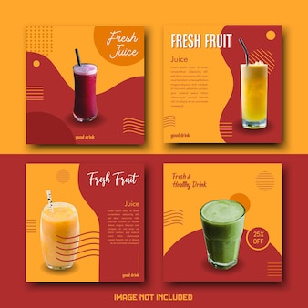 Red yellow colorful juice drink social media template post set bundle