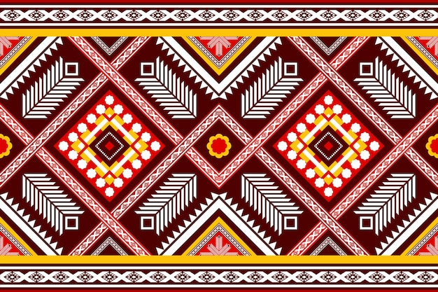 Red yellow ethnic geometric oriental seamless traditional pattern. design for background, carpet, wallpaper backdrop, clothing, wrapping, batik, fabric. embroidery style. vector