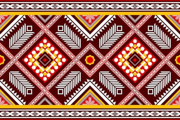 赤黄色の民族幾何学的な東洋のシームレスな伝統的なパターン。背景、カーペット、壁紙の背景、衣類、ラッピング、バティック、ファブリックのデザイン。刺繡スタイル。ベクター