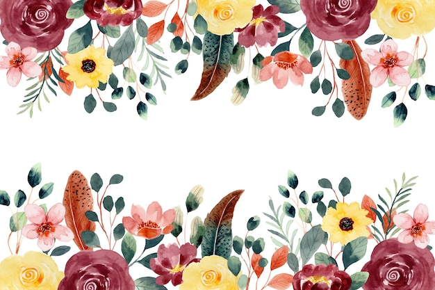Red yellow floral background with watercolor