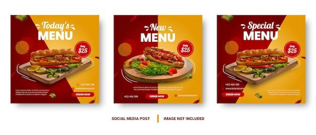 Red and yellow gradient food menu banner social media post.