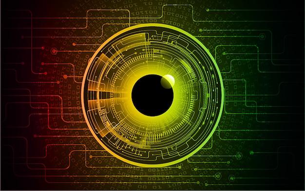 赤黄色緑目サイバー回路将来の技術コンセプトの背景