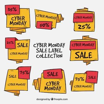 Etichette cyber monday etichette rosse e gialle disegnate a mano