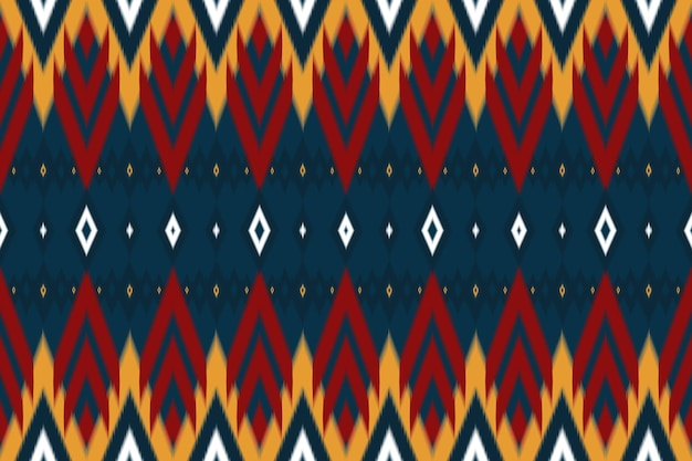 Red, yellow on navy asian ethnic geometric oriental ikat seamless traditional pattern. design for background, carpet, wallpaper backdrop, clothing, wrapping, batik, fabric. embroidery style. vector