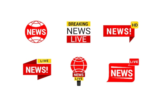 Red and yellow news business company logo