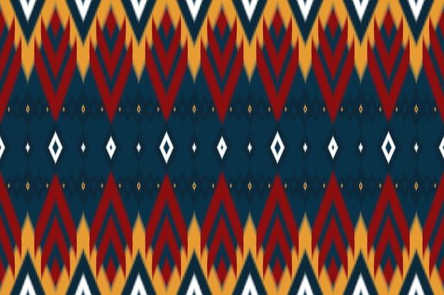 ネイビーアジアのエスニック幾何学的な東洋のikatシームレスな伝統的なパターンに赤、黄色。背景、カーペット、壁紙の背景、衣類、ラッピング、バティック、ファブリックのデザイン。刺繡スタイル。ベクター