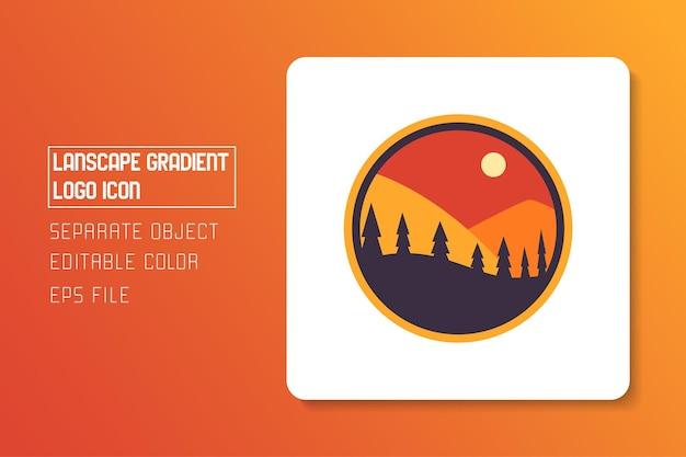 빨간색 노란색 주황색 풍경 풍경 태양 그라데이션 로고 아이콘 스티커