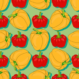 Red and yellow pepper seamless pattern