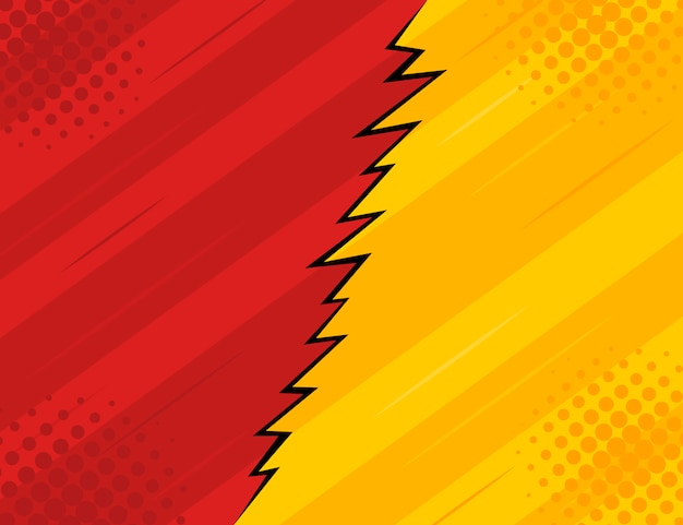 Red and yellow retro vintage style background with rays and lightning.